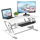 VIVO White Height Adjustable 36'' Stand up Desk Converter | Quick Sit to Stand Tabletop Monitor Riser (DESK-V000VW)