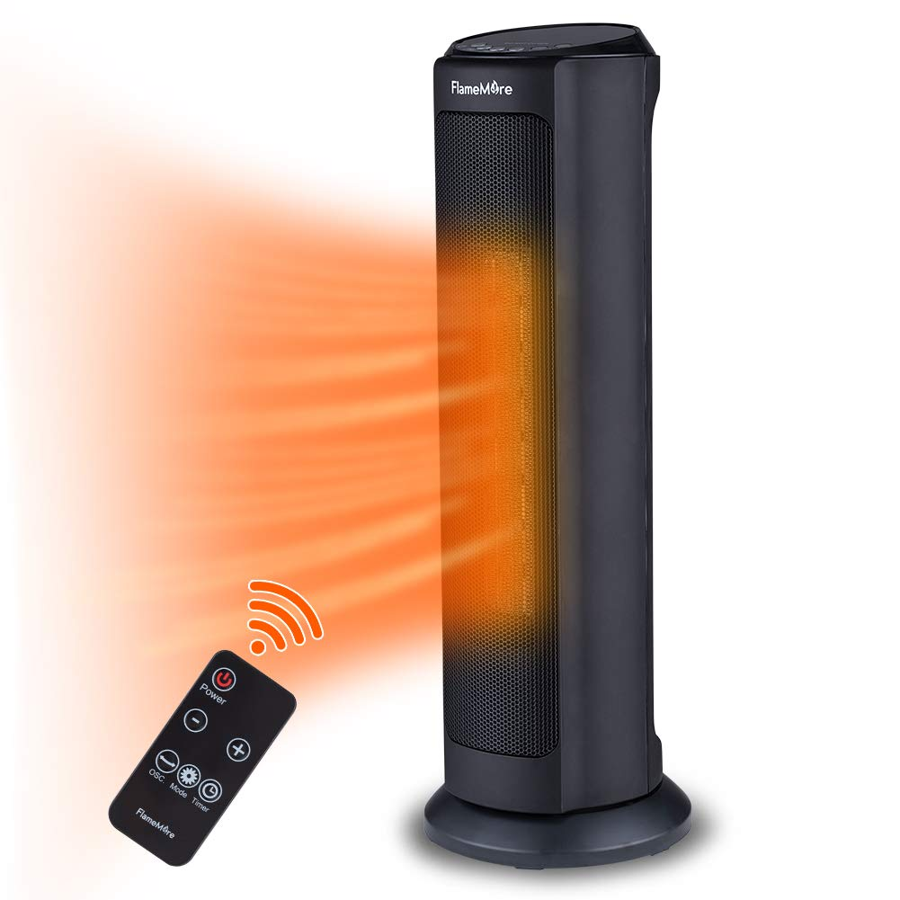 FLAMEMORE 1 TH-3002 Electric Ceramic Tower Space Reomte Control 1500W 12H Timer Oscillating Heater With Tip-over Overheating Safety Cut-off, 7.5 in X 7.5 in X 22 in, Black