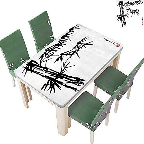 Printsonne Indoor and Outdoor Tablecloth of Oriental Bamboo Painting Liquid Spills Bead up 50 x 102 Inch (Elastic Edge)
