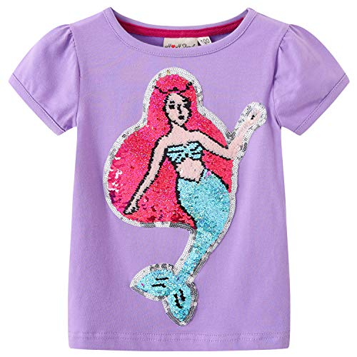 Glitter Flip Sequin Girl's T-Shirt Top Short/Long Sleeve, Fleece Jacket, Leggings 3-14 Years (6, Mermaid 1)