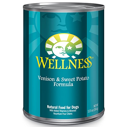 Wellness Complete Health Natural Wet Canned Dog Food, Venison & Sweet Potato, 12.5-Ounce Can (Pack of 12) - All Natural Canned Dog Food