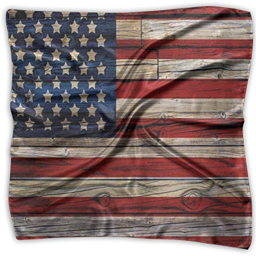 (Bandana Head and Neck Tie Neckerchief,Wooden Planks Painted As United States Flag Patriotic Country Style,Headband)