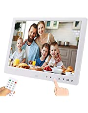 UCMDA Digital Photo Frame - 12 Inch Smart Digital Picture Frame with HD 1280*800 (16:9) IPS Display Screen, Support 1080P Video/Music/Picture Multi Mode Play, Photos Auto-Rotate/ Calendar/Clock/Remote Controller (White) (12 inch)
