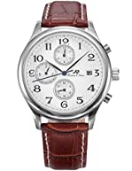 KS Automatic Mechanical Waterproof Date Day Month Display Men's Brown Leather Strap Watch KS154