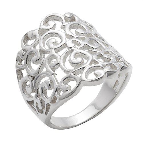 Silverly Women's .925 Sterling Silver Wide Filigree Spiral Pattern Swirl 20mm (Wide Filigree Swirl Ring)