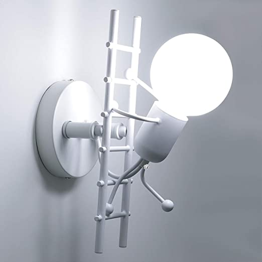 KAWELL Humanoide Creativo Lámpara de Pared Interior Luz de Pared Moderno Apliques de Pared Art Deco Max 60W E27 Base para Niños, Dormitorio, ...