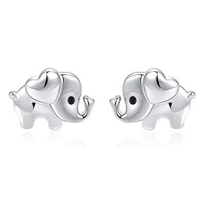 Amazon.com: Pendientes de elefante hipoalergénicos, de plata ...
