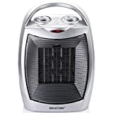 Brightown 750W/1500W ETL Listed Quiet Ceramic Space Heater with Adjustable Thermostat, Portable Electric Heater Fan with Overheat Protection and Carrying Handle