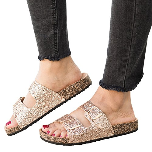 Womens Double Buckle Strap Footed Sandals Slip On Platform Cork Sole Slide Adjustable Flats (Womens Glitter Sandals)