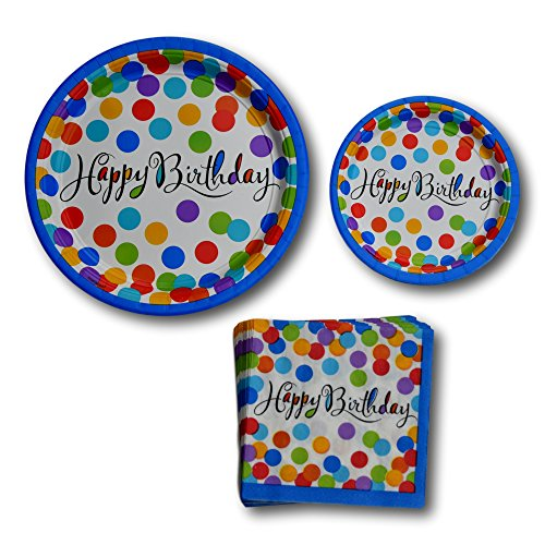Happy Birthday Confetti Party Paper Plates and Napkins Party Supplies Bundle - Tableware Set Includes Happy Birthday Dinner Plates - Dessert Plates and Napkins