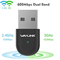 Wavlink 600Mbps Dual Band USB WiFi Dongle & Wireless Network Adapter for Laptop/Desktop Computer - Backward Compatible with 802.11 a/b/g/n Products (2.4 GHz 150Mbps, 5GHz 433Mbps)