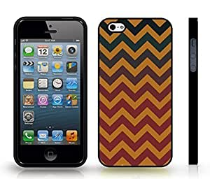 iStar Cases? iPhone 5/5S Case with Chevron Pattern Brown/ Venom Green Stripe , Snap-on Cover, Hard Carrying Case (Black)