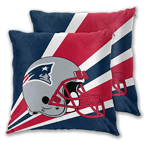 Marrytiny Custom Colorful Pillowcase Set of 2 New England Patriots American Football Team Bedding Pillow Covers Pillow Cases for Sofa Bedroom Home Decorative - 18x18 Inches