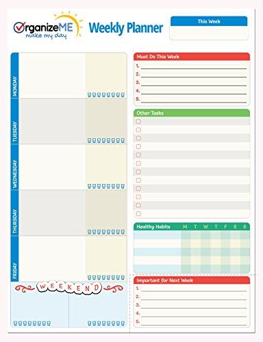 Calendar Planner For Laptop : Organizeme weekly planner pad week calendar organizer
