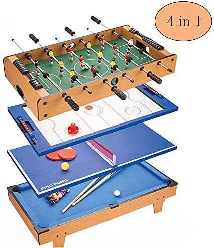 Futbolín Multijuego Mesa 4 en 1 De Billar Disco de Ping Pong Portátil Futbolín Futbolín Tableros de Mesa Fútbol Niños Adultos: Amazon.es: Hogar
