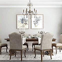 LALUZ Distressed French Style Chandelier, 6-Light