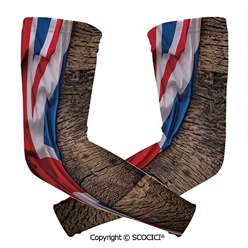 (Comfort and Durable Lightweight Arm Guard Sleeve Flag of United Kingdom on Old Oak Wooden Board English Nation Country Britain Breathable, Flexible Sleeves Protection)