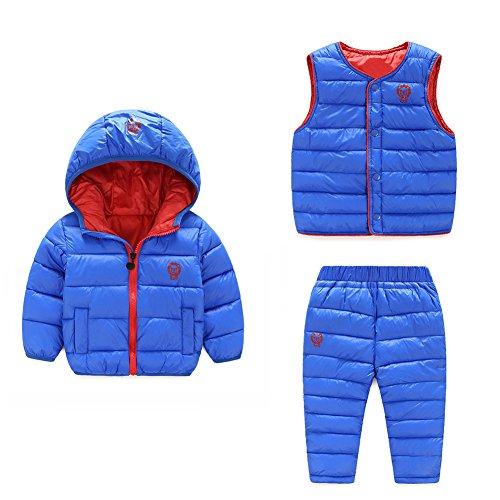 Baby Boy Girl Winter Puffer Snowsuit Down Hooded Jacket+Vest+Ski Pants Set Sky Blue 90