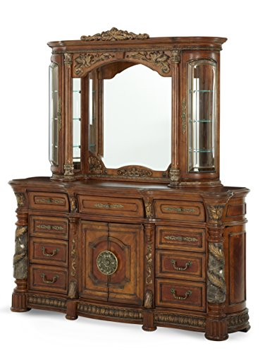 Chestnut Mahogany Vanity - Michael Amini Villa Valencia Dresser Mirror, Classic Chestnut