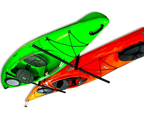 Inverted overhead kayak storage rack for 2 kayaks