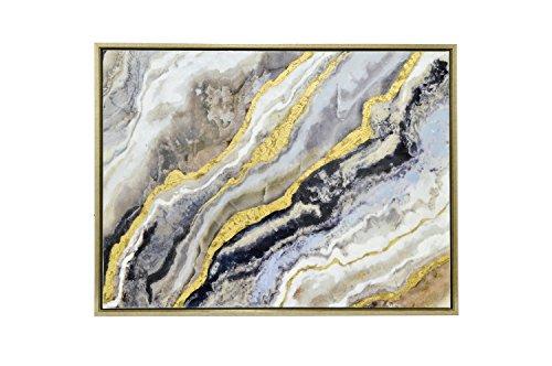 Three Hands 25894 Framed Embellished Canvas Oil Painting - Gold & Black Abstract Waves Framed Gold & Black Abstract Waves by Three Hands