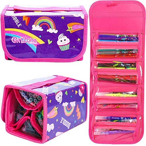 GirlZone Gifts for Girls: Fruit Scented Stationery Set, Fun Pencil Case Including 38 Fruit Scented Marker Pens. Great Birthday Present / Gift for Girls Age 5 6 7 8 9 -