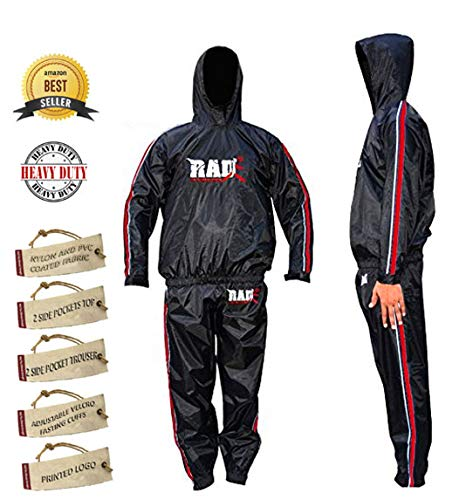 RAD Heavy Duty Sweat Suit Sauna Exercise Gym Suit Fitness, Weight Loss Anti Rip, with Hood (Red, Large)