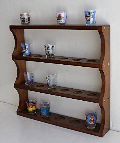 Shot Glass Display Rack Curio Wall Shelf (Walnut Finish) (Glass Shelf Curio)