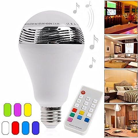 E27 Bluetooth4.0 Control Remote Smart Music Speaker LED RGB Color Bulb Light