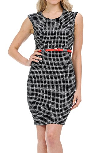 Auliné Collection Women's Color Office Workwear Sleeveless Sheath Dress Mosaic Black (Above Knee Dress)