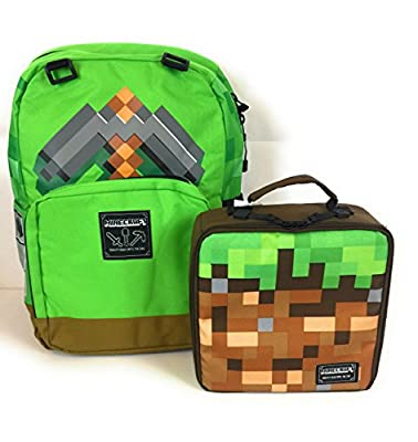 Minecraft 16 Backpack Lunchbox Set Cubes Survival Creative Green Brown 2 Piece Insulated Bag