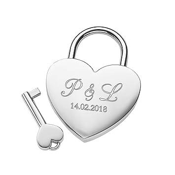 Gravado Liebesschloss in Herzform mit Schlüssel und Gravur ...