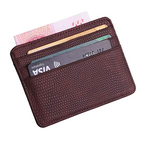 (GoldLock TRASSORY Small Mini Travel Lizard Pattern Leather Bank Business Id Card Holder Wallet Case For Men Women With Id Window (Coffee))