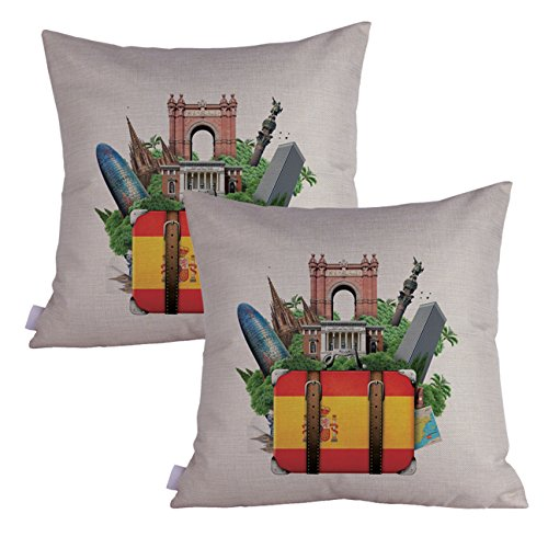 Queenie - 2 Pcs Famous Landmarks In the World Thick Cotton Linen Decorative Pillowcase Cushion Cover Throw Pillow Case 18 X 18 Inch 45 X 45 Cm (Spain Landmarks Set of 2) by Queenie
