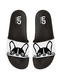 Cartoon Boston terrier Bulldog Summer Slide Slippers For Boy Girl Men Women Outdoor Beach Sandals Shoes