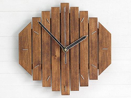 Clock Geometric - Romb III, wooden wall clock, wall clock, geometric wall clock, minimal office clock, simple design clock, living room clock, old, rustic