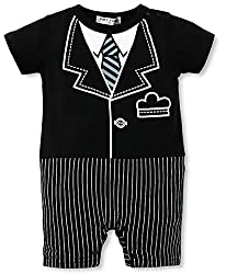 Baby Boy's Bow Tie Tuxedo Suit Romper Jumpsuit/ Bodysuit (80 (fits 0-6 Months), red tie)
