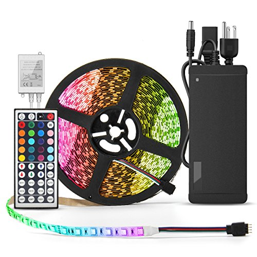 BINZET LED Strip Light - 32.8ft 5050 RGB 300LEDs [Multi Color Includes White] Color Changing Flexible Self-adhesive Light Strip Complete Kit with 44 Key IR Remote Controller 24V 3A Power Supply by BINZET