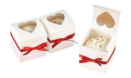 Ibex Retail 10 x Solo Mini Cajas para Cupcakes con Ventana de corazón 6 x 6