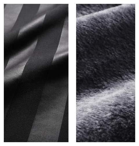 ジェットブラック 布団カバーセット ベッド用 ダブル 4点セット 冬のホテルスタイル プレミアム毛布とモダンストライプのカバーリングシリーズ【品】 B07PRTKL6Z