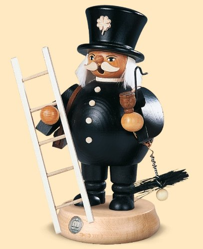 German incense smoker Chimney Sweep, height 19 cm / 7 inch, original Erzgebirge by Mueller Seiffen (Smoker Chimney compare prices)