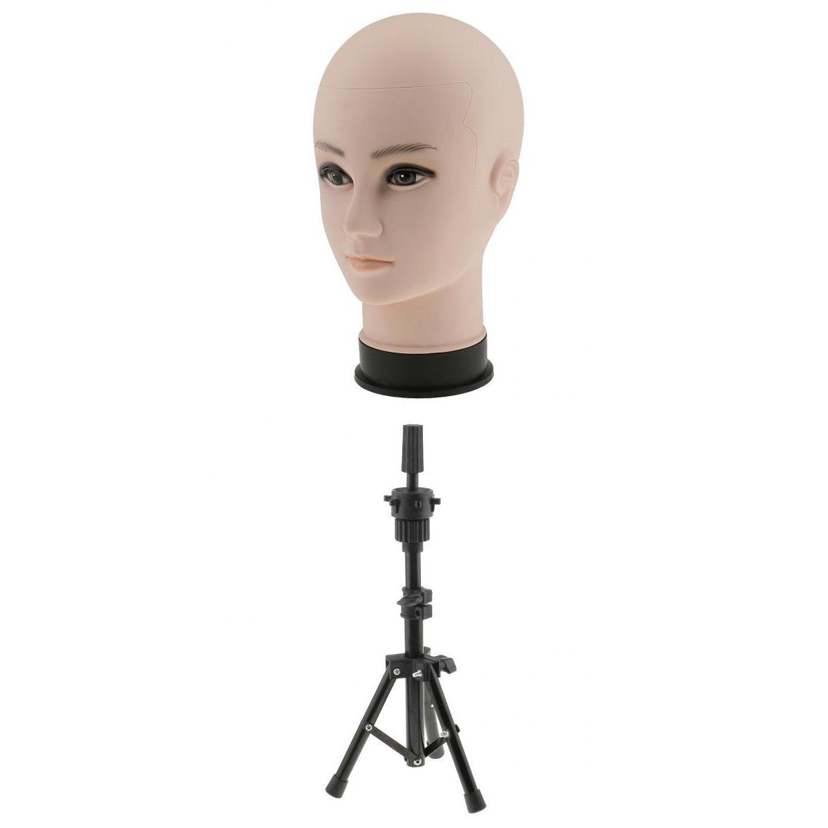D DOLITY 22 inches Stunning Plastic Cosmetology Mannequin Head for Wig Making Hat Glasses Displaying with Heavy Duty Tripod Model Support Stand