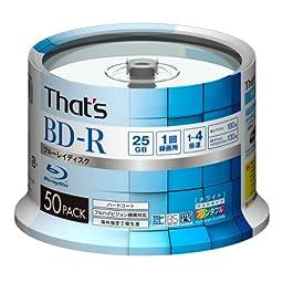 50 Taiyo Yuden Blu Ray Discs BD-R 25GB 4x Speed Printable Hard Coat Bluray Discs