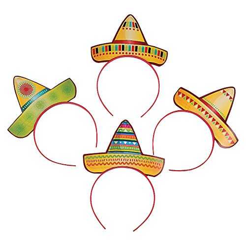 (Fun Express Sombrero Party Hat Headbands Fiesta Party Favors - 12)