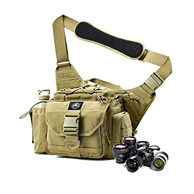 SHANGRI-LA Multi-functional Tactical Messenger Bag Tactical Range Bag Camera Bag Assault Gear Sling Pack Shoulder Backpack MOLLE Modular Deployment Gun Holsters Cases Bags for Hunting Fishing Shooting