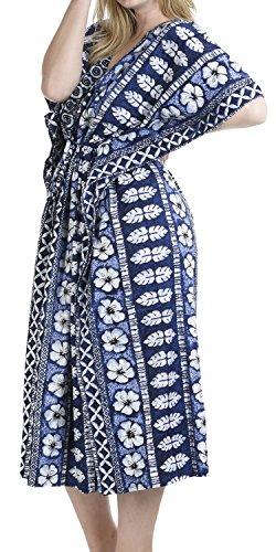 LEELA formato più tutto caraibi profondo spogliatoio coprire m539 LA notte vestito sera il in casuale vestito lunghi sciolti caftano donne profonmorbido sera Blu camicia bagno costume a collo scollo dZxYOq