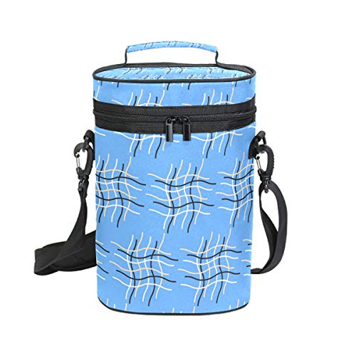 (FAJRO Wine Carrier Tote Bag Abstract Plait Blue Background Two Bottle Insulated Wine/Water Bottle Holder for Travel with Carry Handle)