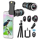 Telephoto lens kit, 4 in 1 Cell Phone Camera Lens, 12X Telephoto Lens + 180° Fisheye Lens + 0.65 Wide Angle Lens + Macro Lens, Clip-On Lenses for iphone 8 7 6 plus, Samsung Smartphone + Remote Shutter