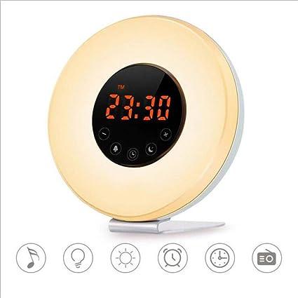 YCRD Despertador Luz Reloj Despertador Analógico Reloj Digital 7 Color Touch Control Pantalla Led Luz Noche