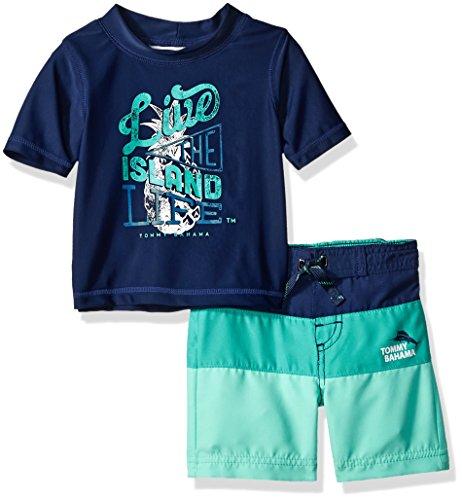 Tommy Bahama Baby Boys Rashguard and Trunks Swimsuit Set, Island Live Navy, 12M by Tommy Bahama